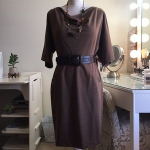 Ellen Tracy Dolman sleeve belted brown dress.